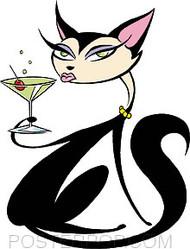 Pizz Martini Cat Sticker Image