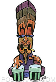 Pizz Beatnik Tiki Sticker Image