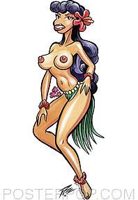Pizz Hula Girl Sticker Image