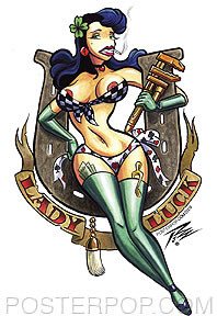 Pizz Lady Luck Sticker Image