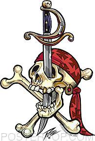 Pizz Pirate Skull Sticker Image