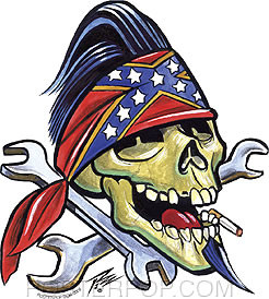 Pizz Wrench Skull Sticker Image