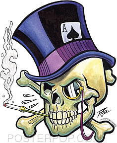 Pizz Top Hat Skull Sticker Image