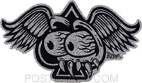 Artist Robert Kruse Eyes Spade Car Sticker Decal by Poster Pop. Ace of Spades with Wings and Rat Fink Eyes and Teeth Design on Glitter Foil