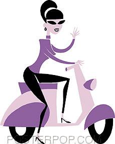 Shag Purple Scooter Sticker Image