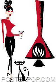 Shag Fireplace Girl Sticker Image