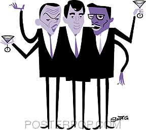 Artist Shag - Josh Agle Hipster Sticker by Poster Pop. Cartoon Iconic, Retro Rat Pack Martini Drinking Design with Sammy Davis Jr, Frank Sinatra, and Dean Martin