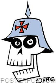 Shag German Skull Sticker Image