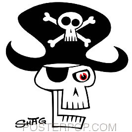 Shag Pirate Skull Sticker Image