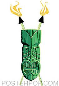 Shag Green Tiki Sticker Image