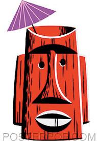 Shag Red Tiki Mug Sticker Image