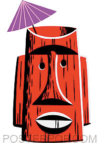 Shag Red Tiki Mug Sticker Image