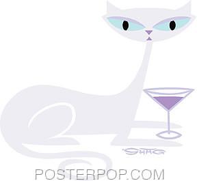 Shag White Cocktail Kitty Sticker Image