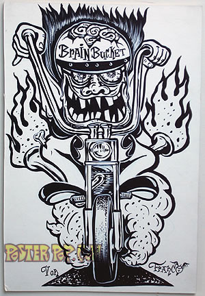 Von Franco Original Blackline and Colorup Drawing - Brain Bucket Image