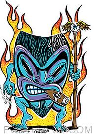 Von Franco Smokin Tiki Sticker Image