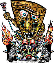 Von Franco Tiki Rodder Sticker Image