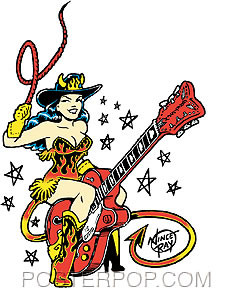 Vince Ray Guitar Girl Sticker Image