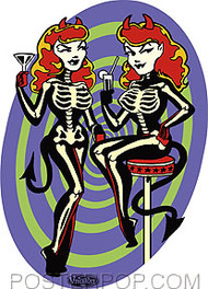 Vince Ray Skelli Bargirls Sticker Image