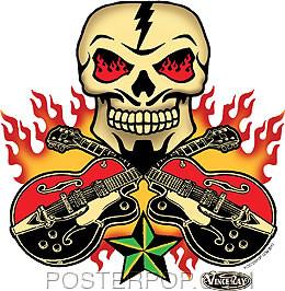 Vince Ray Skull n Guitars Sticker Image
