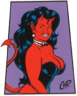 Coop Trapezoid Devil Girl Sticker Image