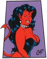 Coop Trapezoid Devil Girl Sticker Image