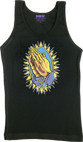 Almera Praying Hands Woman's Baby Doll Tee and Boy Beater Tank Image