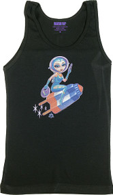 Aaron Marshall Flying Pop Girl Woman's Ribbed Tank Top Image
