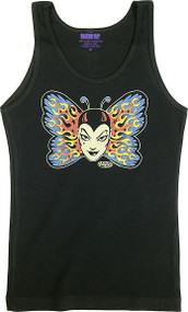 Vince Ray Tattoo Butterfly Womans Baby Doll Tee and Boy Beater Tank Image