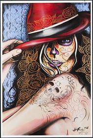 Gustavo Rimada Red Hat Hand Signed Print Image