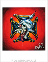 BigToe Skull Cross Signed Artist Print Image