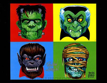 Ben Von Strawn 4 Monsters Hand Signed Artist Print Image