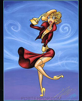 Pizz French Swirl Hand Signed Calender Girl Print 8-1/2 x 10.5 Image