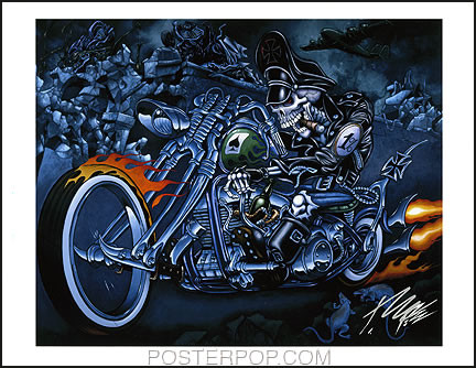 Pizz Hell Biker Wild Hunt Hand Signed Print 8-1/2 x 11 Image