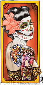 Artist Gustavo Rimada Va Va Voom Sticker by Poster Pop. Mexican Day of the Dead Tattooed Girl with Flower, Rockabilly Hair, Leopard Skin Dress and Muertos Skull Face Paint