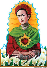 Artist Gustavo Rimada Querida Frida Kahlo Car Sticker Decal by Poster Pop. Mexican Day of the Dead Tattooed Frida Kahlo Painting Design