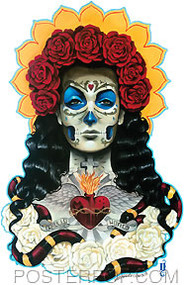 Artist Gustavo Rimada Orgullo Amor Sticker by Poster Pop. Mexican Tattoo Day of the Dead folk Art Painting Design. Juana Gallo Strong Woman, with Sacred Heart & Roses.