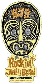 Rockin JellyBean Mask Gold Sticker Image