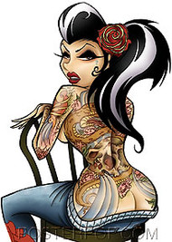 Artist Tyson McAdoo Lucky Car Sticker Decal by Poster Pop. Sexy Topless Tattooed Girl with rockabilly Hair and Flower with Back Tattoo sitting on a Chair ready to get a New Tattoo
