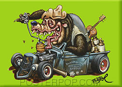 BigToe Hot Rod Bear Fridge Magnet Image Green