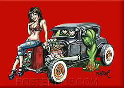Artist BigToe Heidi Deluxe Fridge Magnet Image Red