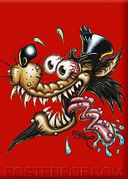 BigToe Wolf Daddy Fridge Magnet Image Red