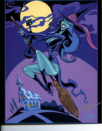 Pizz Be-Witched Hand Signed Calender Girl Print 8-1/2 x 10.5 Image