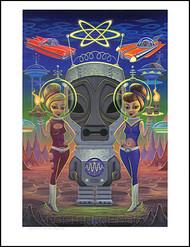 Aaron Marshall Space Tiki Girls Hand Signed Artist Print