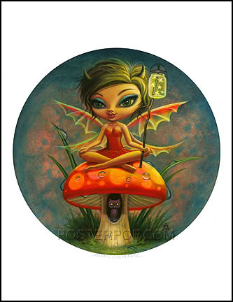 Aaron Marshall Red Pixie Hand Signed Artist Print Image