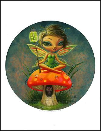 Aaron Marshall Green Pixie Hand Signed Artist Print Image