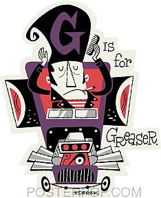 Derek Yaniger G is for Greaser Sticker Image