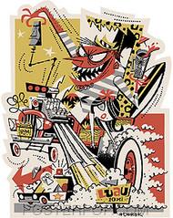 Derek Yaniger Late for the Luau Hotrod Sticker Image