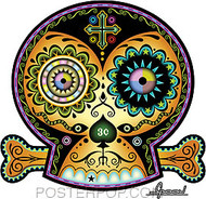 Artist Chico Von Spoon 3 Cent Sugar Skull Car Sticker decal by Poster Pop. Day of the Dead Tattooed, Skull and Bones Folk Art.