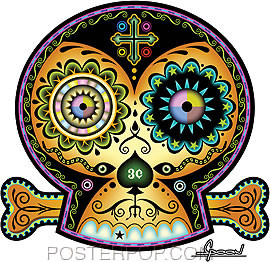Artist Chico Von Spoon 3 Cent Sugar Skull Car Sticker decal by Poster Pop. Day of the Dead Tattooed, Skull and Bones Folk Art.