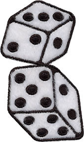 FD Fuzzy Dice Patch White Small 2